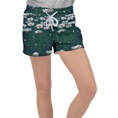 White Daisy Field Women s Velour Lounge Shorts by bloomingvinedesign