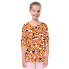 Candy Corn Pattern Kids  Quarter Sleeve Raglan Tee by bloomingvinedesign