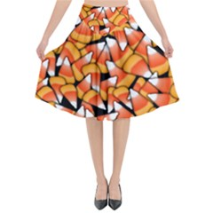 Candy Corn Pattern Flared Midi Skirt by bloomingvinedesign