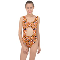 Candy Corn Pattern Center Cut Out Swimsuit