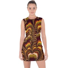 Earthtone Feather Fractal Lace Up Front Bodycon Dress