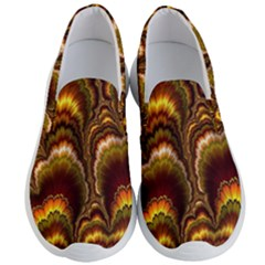 Earthtone Feather Fractal Men s Lightweight Slip Ons