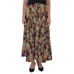 Gingerbread Cookie Collage Flared Maxi Skirt by bloomingvinedesign