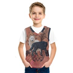 Awesome Black And White Wolf Kids  Sportswear