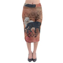 Awesome Black And White Wolf Midi Pencil Skirt by FantasyWorld7