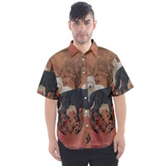 Awesome Black And White Wolf Men s Short Sleeve Shirt