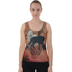 Awesome Black And White Wolf Velvet Tank Top by FantasyWorld7