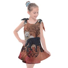 Awesome Black And White Wolf Kids  Tie Up Tunic Dress