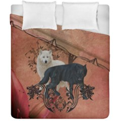 Awesome Black And White Wolf Duvet Cover Double Side (california King Size) by FantasyWorld7
