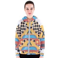 Automobile Car Checkered Drive Women s Zipper Hoodie