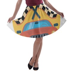 Automobile Car Checkered Drive A Line Skater Skirt