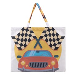 Automobile Car Checkered Drive Zipper Large Tote Bag