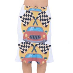 Automobile Car Checkered Drive Mermaid Skirt