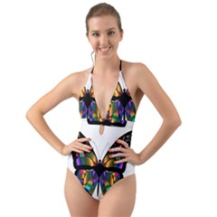 Abstract Animal Art Butterfly Halter Cut Out One Piece Swimsuit