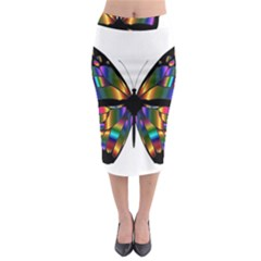 Abstract Animal Art Butterfly Midi Pencil Skirt