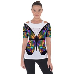 Abstract Animal Art Butterfly Shoulder Cut Out Short Sleeve Top