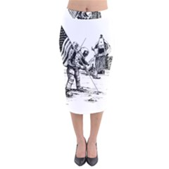 Apollo Moon Landing Nasa Usa Velvet Midi Pencil Skirt by Samandel