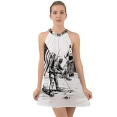 Apollo Moon Landing Nasa Usa Halter Tie Back Chiffon Dress