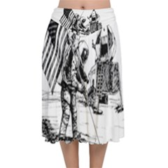 Apollo Moon Landing Nasa Usa Velvet Flared Midi Skirt