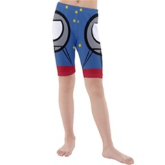 A Rocket Ship Sits On A Red Planet With Gold Stars In The Background Kids  Mid Length Swim Shorts