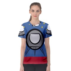 A Rocket Ship Sits On A Red Planet With Gold Stars In The Background Women s Sport Mesh Tee