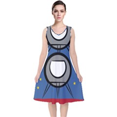 A Rocket Ship Sits On A Red Planet With Gold Stars In The Background V Neck Midi Sleeveless Dress