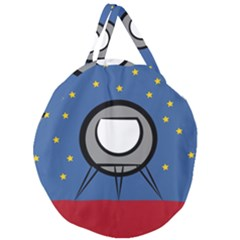 A Rocket Ship Sits On A Red Planet With Gold Stars In The Background Giant Round Zipper Tote