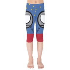 A Rocket Ship Sits On A Red Planet With Gold Stars In The Background Kids  Capri Leggings