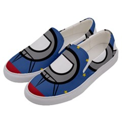 A Rocket Ship Sits On A Red Planet With Gold Stars In The Background Men s Canvas Slip Ons by Samandel