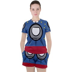 A Rocket Ship Sits On A Red Planet With Gold Stars In The Background Women s Tee And Shorts Set