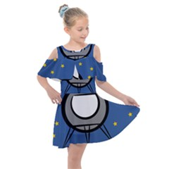 A Rocket Ship Sits On A Red Planet With Gold Stars In The Background Kids  Shoulder Cutout Chiffon Dress