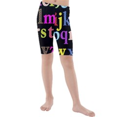 Alphabet Letters Colorful Polka Dots Letters In Lower Case Kids  Mid Length Swim Shorts