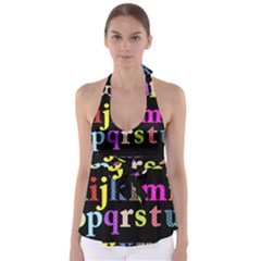 Alphabet Letters Colorful Polka Dots Letters In Lower Case Babydoll Tankini Top
