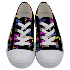 Alphabet Letters Colorful Polka Dots Letters In Lower Case Kids  Low Top Canvas Sneakers