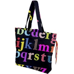 Alphabet Letters Colorful Polka Dots Letters In Lower Case Drawstring Tote Bag by Samandel