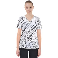 Abstract Minimalistic Text Typography Grayscale Focused Into Newspaper Women s V Neck Scrub Top