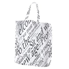 Abstract Minimalistic Text Typography Grayscale Focused Into Newspaper Giant Grocery Tote