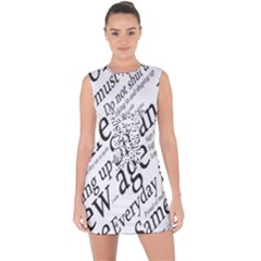 Abstract Minimalistic Text Typography Grayscale Focused Into Newspaper Lace Up Front Bodycon Dress