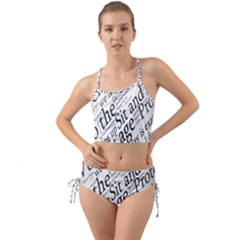 Abstract Minimalistic Text Typography Grayscale Focused Into Newspaper Mini Tank Bikini Set