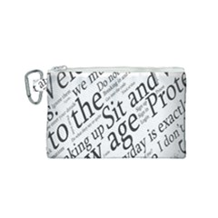 Abstract Minimalistic Text Typography Grayscale Focused Into Newspaper Canvas Cosmetic Bag (small)