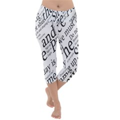 Abstract Minimalistic Text Typography Grayscale Focused Into Newspaper Lightweight Velour Capri Yoga Leggings
