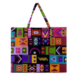 Abstract A Colorful Modern Illustration Zipper Large Tote Bag