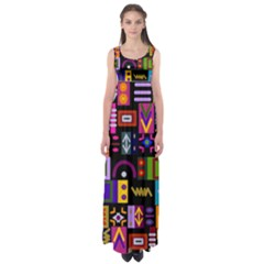 Abstract A Colorful Modern Illustration Empire Waist Maxi Dress