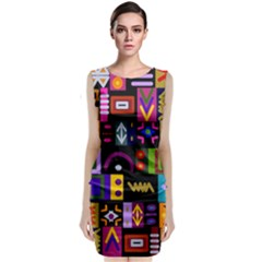 Abstract A Colorful Modern Illustration Classic Sleeveless Midi Dress