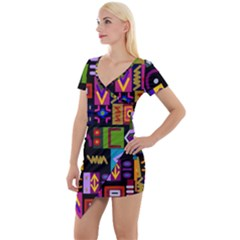 Abstract A Colorful Modern Illustration Short Sleeve Asymmetric Mini Dress