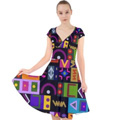 Abstract A Colorful Modern Illustration Cap Sleeve Front Wrap Midi Dress