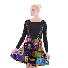 Abstract A Colorful Modern Illustration Suspender Skater Skirt