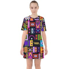 Abstract A Colorful Modern Illustration Sixties Short Sleeve Mini Dress