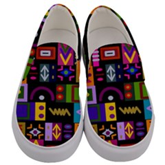Abstract A Colorful Modern Illustration Men s Canvas Slip Ons