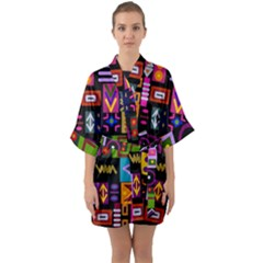 Abstract A Colorful Modern Illustration Quarter Sleeve Kimono Robe